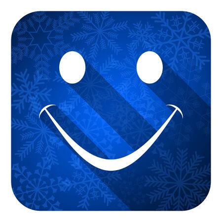 new yea: smile flat icon, christmas button Stock Photo