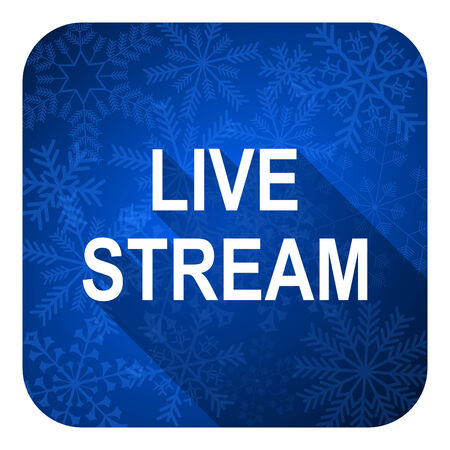 live stream movie: live stream flat icon, christmas button