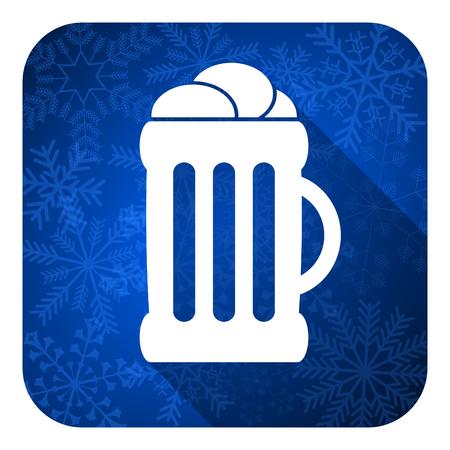 winter wheat: beer flat icon, christmas button, mug sign