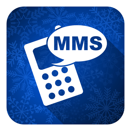 mms flat icon, christmas button, phone sign photo