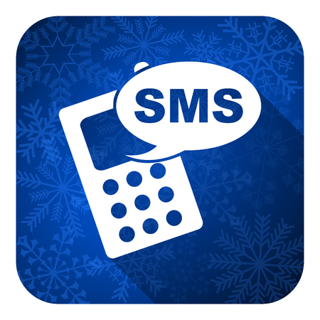 sms flat icon, christmas button, phone sign photo