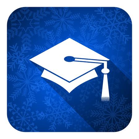 education flat icon, christmas button, graduation sign photo