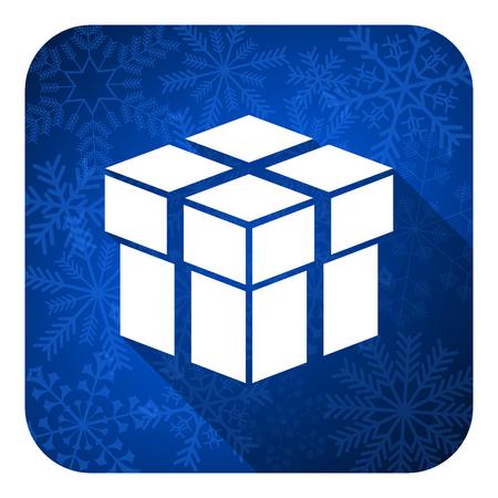 box flat icon, christmas button photo