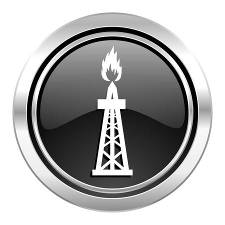 gas icon: gas icon, black chrome button, oil sign