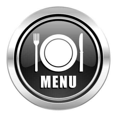 menu icon: menu icon, black chrome button, restaurant sign