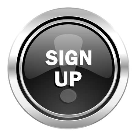 sign up icon: sign up icon, black chrome button
