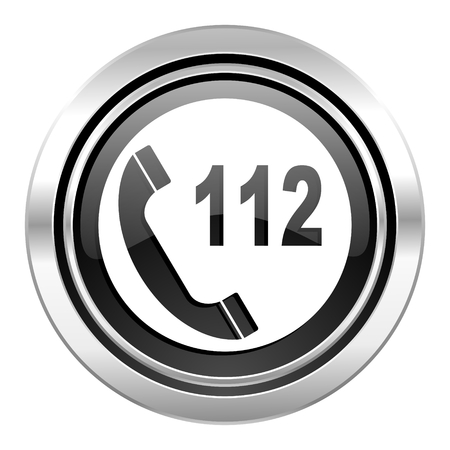 emergency call: emergency call icon, black chrome button, 112 call sign
