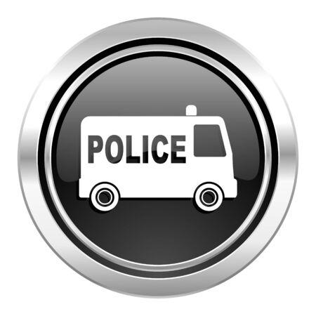 icono policia: icono de la polic�a bot�n, cromo negro Foto de archivo