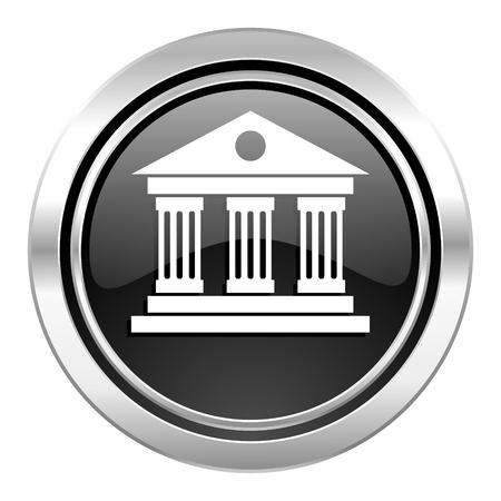 museum icon, black chrome button photo