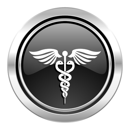 emergency icon, black chrome button, hospital sign photo