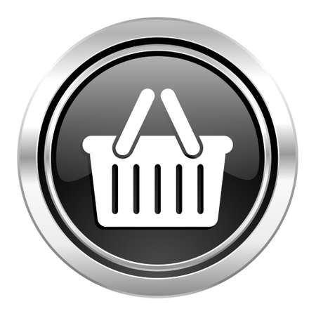 chrome cart: cart icon, black chrome button, shopping cart symbol