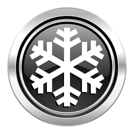 snow icon, black chrome button, air conditioning sign photo