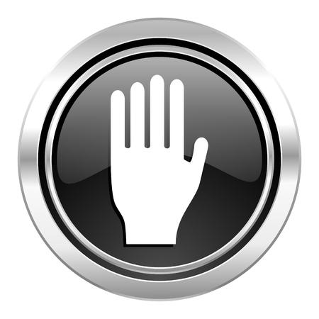 stop icon: stop icon, black chrome button, hand sign Stock Photo