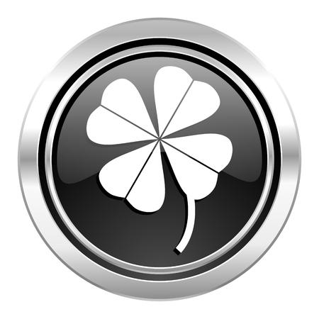 fourleaf: four-leaf clover icon, black chrome button