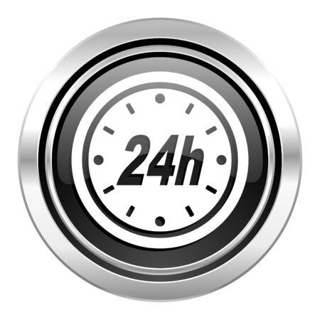 24h: 24h icon, black chrome button