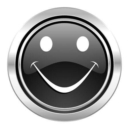 new yea: smile icon, black chrome button Stock Photo