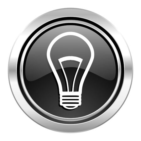 bulb icon: bulb icon, black chrome button, light bulb sign
