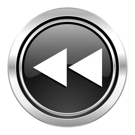 rewind icon: rewind icon, black chrome button Stock Photo