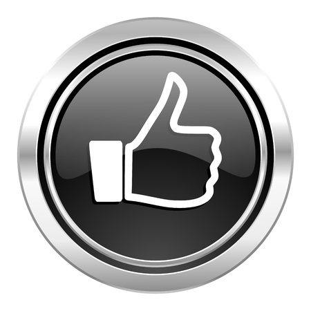 like icon, black chrome button, thumb up sign photo