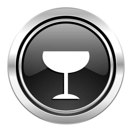 champain: alcohol  icon, black chrome button, glass sign