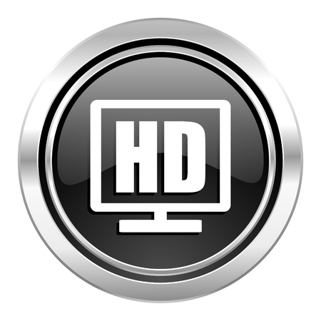 hd display icon, black chrome button photo