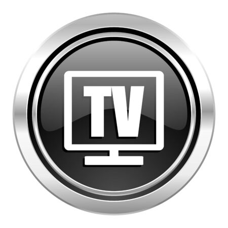 tv icon, black chrome button, television sign photo