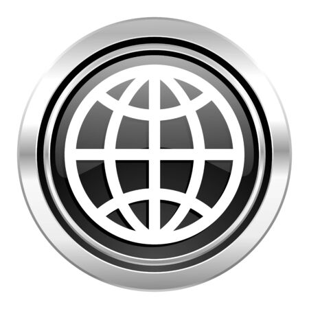 parallels: earth icon, black chrome button Stock Photo