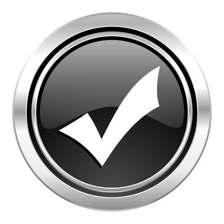 accept icon: accept icon, black chrome button, check sign