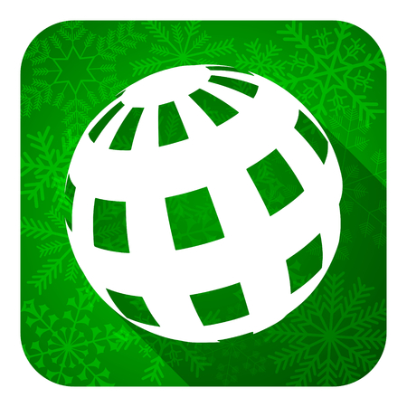 parallels: earth flat icon, christmas button Stock Photo