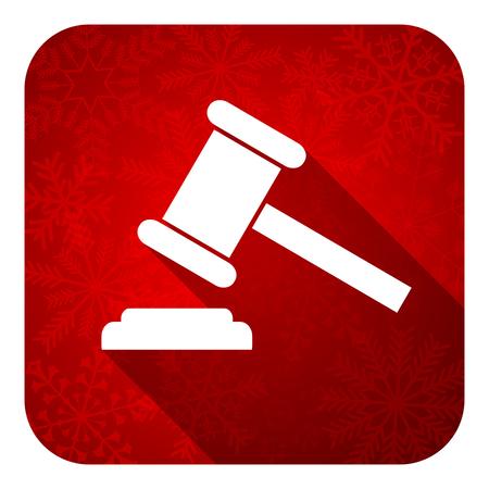 verdict: auction flat icon, christmas button, court sign, verdict symbol Stock Photo