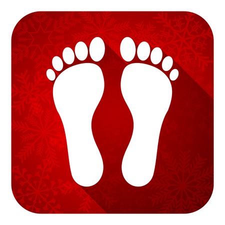 foot flat icon, christmas button photo