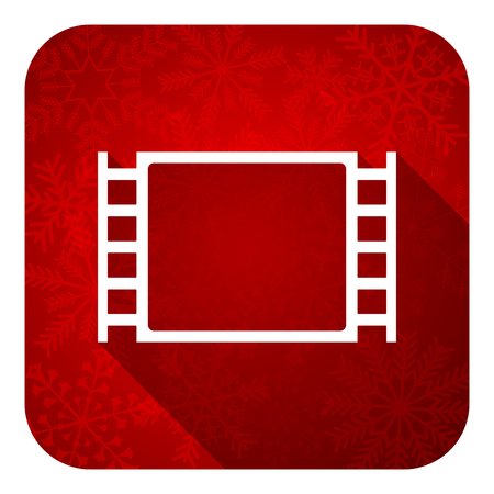 movie flat icon, christmas button photo