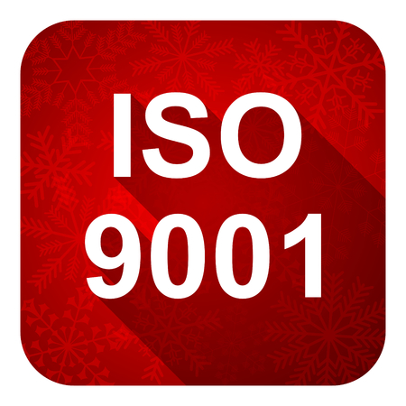 iso 9001 flat icon, christmas button photo