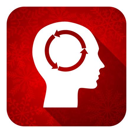 keen: head flat icon, christmas button, human head sign