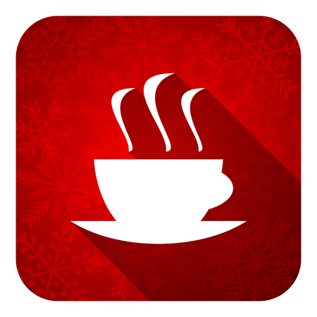 espresso flat icon, christmas button, hot cup of caffee sign photo