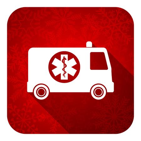 ambulance flat icon, christmas button photo
