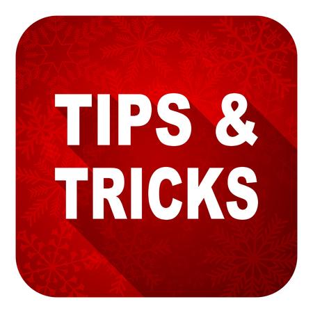 tips tricks flat icon, christmas button photo