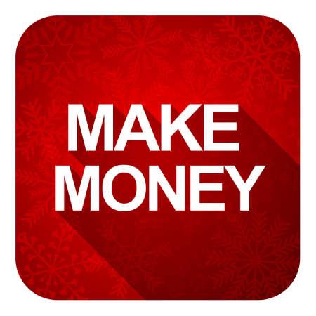 christmas profits: make money flat icon, christmas button Stock Photo