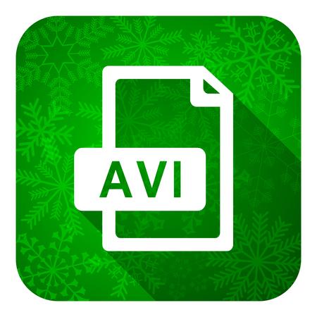avi: avi file flat icon, christmas button