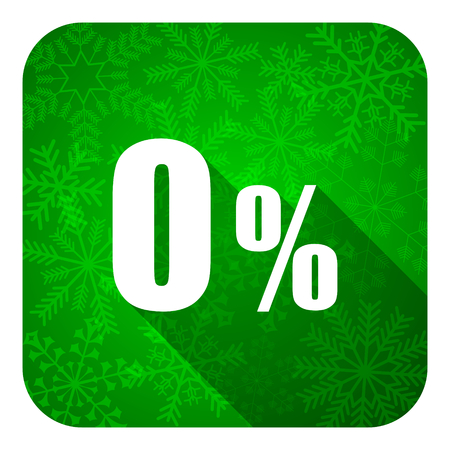 0 percent flat icon, christmas button, sale sign photo