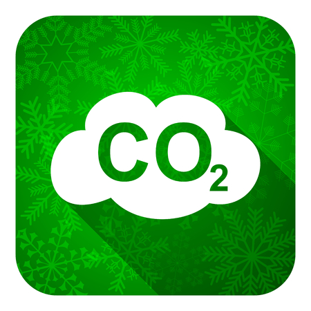 carbon dioxide flat icon, christmas button, co2 sign photo