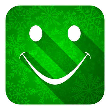 smile flat icon, christmas button photo