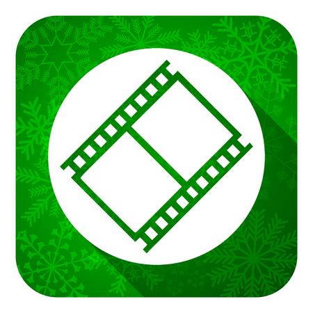 movie sign: icono de pel�cula plana, bot�n de navidad, signo de pel�cula, un s�mbolo del cine Foto de archivo