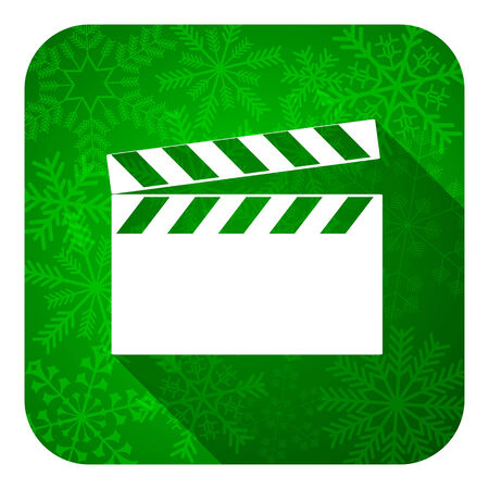 hollywood christmas: video flat icon, christmas button, cinema sign