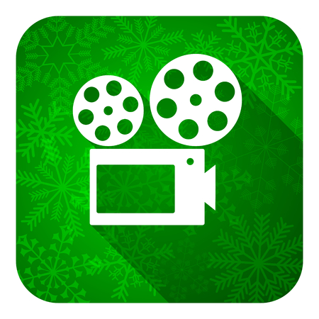movie flat icon, christmas button, cinema sign photo