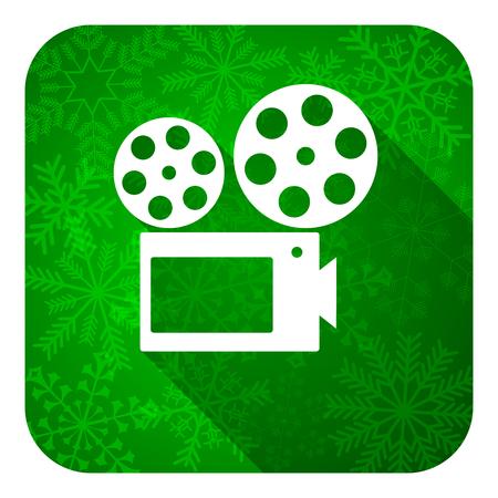 hollywood christmas: movie flat icon, christmas button, cinema sign