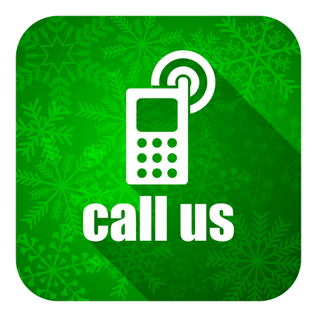 call us flat icon, christmas button, phone sign photo
