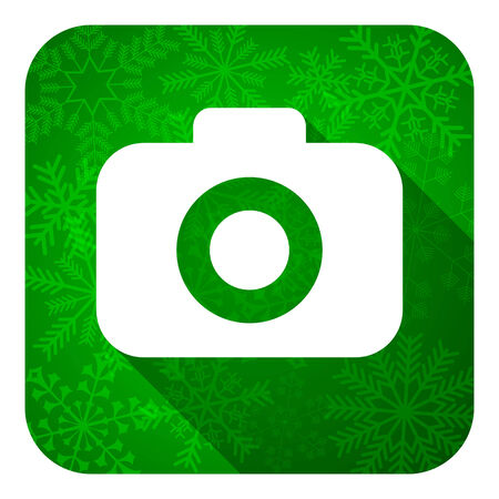 photo camera flat icon, christmas button, photography sign photo