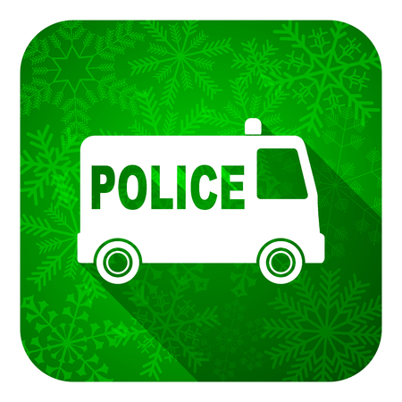 highway patrol: police flat icon, christmas button