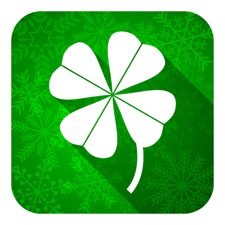 four-leaf clover flat icon, christmas button photo